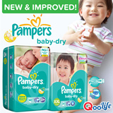 [PnG] NEW n IMPROVED! Pampers Baby Dry Tape- Gives your baby UP TO 12 HOURS of superior overnight dryness n comfort with its soft stretchy sides. Now available in XXL and playful cute designs!