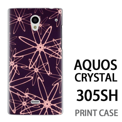 AQUOS CRYSTAL 305SH 用『No3 線の花びら』特殊印刷ケース【 aquos crystal 305sh アクオス クリスタル アクオスクリスタル softbank ケース プリント カバー スマホケース スマホカバー 】の画像