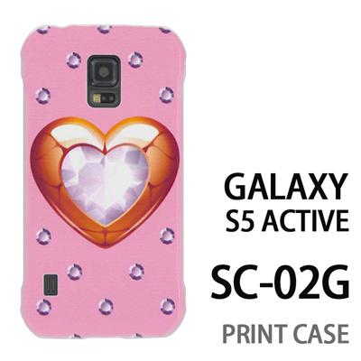 GALAXY S5 Active SC-02G 用『0114 ハートとダイヤ ピンク』特殊印刷ケース【 galaxy s5 active SC-02G sc02g SC02G galaxys5 ギャラクシー ギャラクシーs5 アクティブ docomo ケース プリント カバー スマホケース スマホカバー】の画像