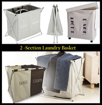 2-Compartment Foldable Laundry Washing Basket / Dirty Clothes Storage/ Laundry Hamper Home Organizer