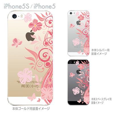 【iPhone5S】【iPhone5】【iPhone5sケース】【iPhone5ケース】【カバー】【スマホケース】【クリアケース】【フラワー】【花と蝶】 22-ip5s-ca0078の画像