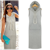 [New arrivals〜Hooded long in korea] airy sleeveless long dress:hooded:Cutie long