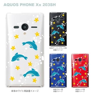 【AQUOS PHONEケース】【203SH】【Soft Bank】【カバー】【スマホケース】【クリアケース】【アニマル】【イルカ】 09-203sh-su0004の画像