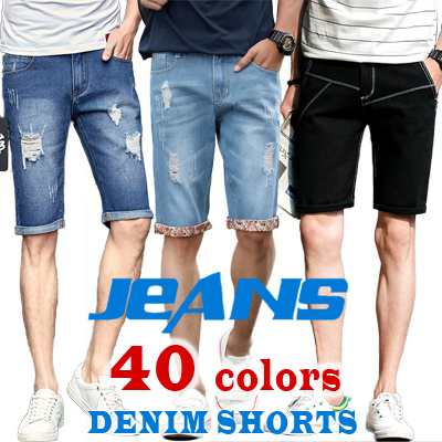 夏 デニム・ジーンズ メンズ 薄い デニムパンツ 裂かれたジーンズ ハーレムパンツ ビーチジーンズ 5分丈ジーンズ MK1708