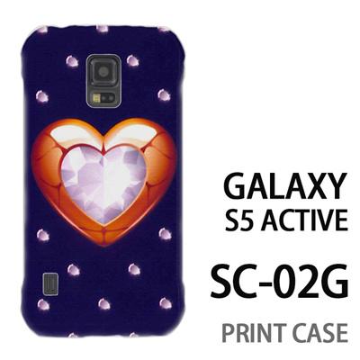 GALAXY S5 Active SC-02G 用『0114 ハートとダイヤ 紺』特殊印刷ケース【 galaxy s5 active SC-02G sc02g SC02G galaxys5 ギャラクシー ギャラクシーs5 アクティブ docomo ケース プリント カバー スマホケース スマホカバー】の画像