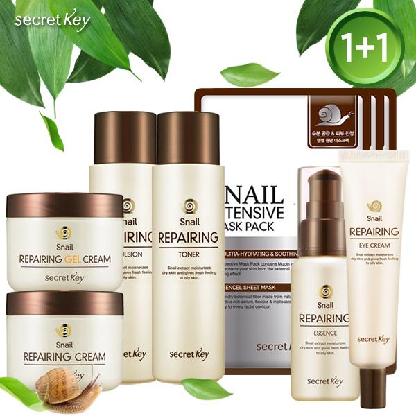 ?Secret Key HQBEST SELLER?SNAIL REPAIRING SKINCARE 1+1?Snail Toner/Essence/Emulsion/Cream/EyeCream Deals for only S$31.8 instead of S$0