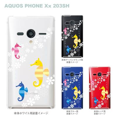 【AQUOS PHONEケース】【203SH】【Soft Bank】【カバー】【スマホケース】【クリアケース】【アニマル】【タツノオトシゴ】 09-203sh-su0005の画像