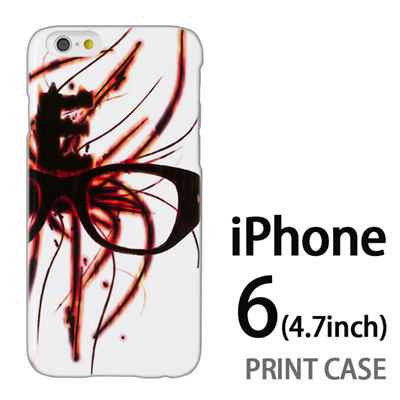iPhone6 (4.7インチ) 用『No1 E 燃えるメガネ』特殊印刷ケース【 iphone6 iphone アイフォン アイフォン6 au docomo softbank Apple ケース プリント カバー スマホケース スマホカバー 】の画像