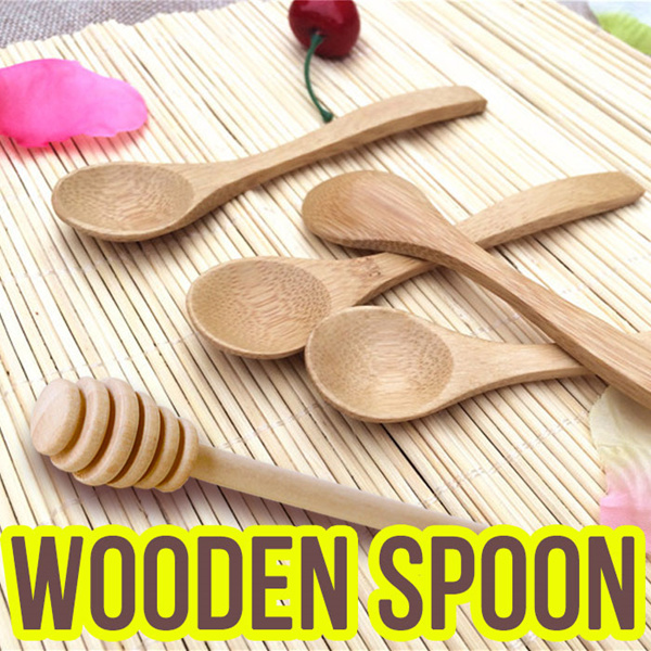 [Hand Made] Natural Wooden Tea Spoon / Honey Dipper / Jam Stick / Jar / Coffee / Bamboo / Kids/Baby Deals for only S$5.9 instead of S$0