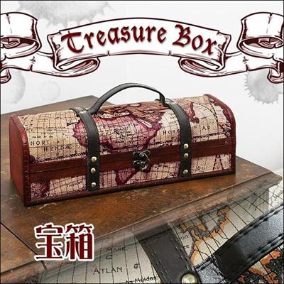航海地図モチーフ アンティーク風宝箱 横長タイプ/収納ケース コレクションケース おしゃれの画像