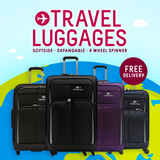 Softside 4-Wheel Spinner Expandable Trolley Case Luggage 20/24/28 inch Black/Purple/Blue/Brown