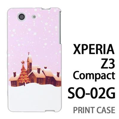 XPERIA Z3 Compact SO-02G 用『1222 雪降る町 ピンク』特殊印刷ケース【 xperia z3 compact so-02g so02g SO02G xperiaz3 エクスペリア エクスペリアz3 コンパクト docomo ケース プリント カバー スマホケース スマホカバー】の画像