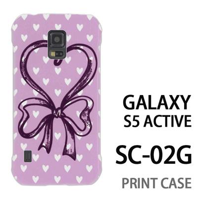 GALAXY S5 Active SC-02G 用『0114 ハートリボン ピンク』特殊印刷ケース【 galaxy s5 active SC-02G sc02g SC02G galaxys5 ギャラクシー ギャラクシーs5 アクティブ docomo ケース プリント カバー スマホケース スマホカバー】の画像