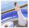 Sexy woman white lace dress fishtail skirt openwork Beach