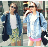 Sj128 Korean style! Retro relaxed denim jacket / Bat Sleeve denim jacket