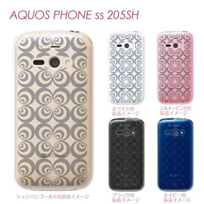 【AQUOS PHONE ss 205SH】【205sh】【Soft Bank】【カバー】【ケース】【スマホケース】【クリアケース】【チェック・ボーダー・ドット】【トランスペアレンツ】【レトロサークル】 06-205sh-ca0021eの画像