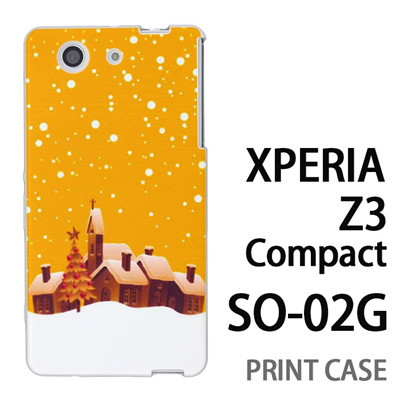 XPERIA Z3 Compact SO-02G 用『1222 雪降る町 黄』特殊印刷ケース【 xperia z3 compact so-02g so02g SO02G xperiaz3 エクスペリア エクスペリアz3 コンパクト docomo ケース プリント カバー スマホケース スマホカバー】の画像