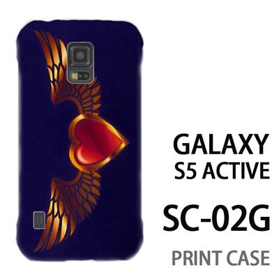 GALAXY S5 Active SC-02G 用『0114 羽とハート 紫』特殊印刷ケース【 galaxy s5 active SC-02G sc02g SC02G galaxys5 ギャラクシー ギャラクシーs5 アクティブ docomo ケース プリント カバー スマホケース スマホカバー】の画像