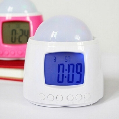 Qoo10Star multifunction robot music luminous fantasy projection clock / LED Night Light / Calendar Clock