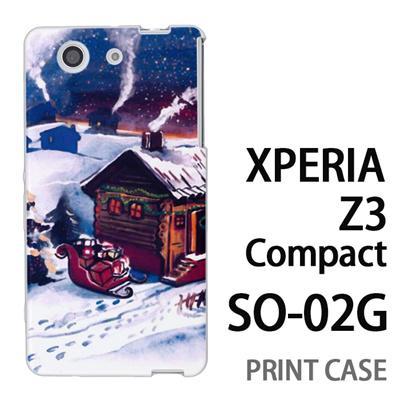 XPERIA Z3 Compact SO-02G 用『1223 サンタさん訪問中 水』特殊印刷ケース【 xperia z3 compact so-02g so02g SO02G xperiaz3 エクスペリア エクスペリアz3 コンパクト docomo ケース プリント カバー スマホケース スマホカバー】の画像