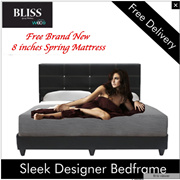Lowest Priced Spring Mattress Set ! Sleek Design Bed frame FREE 9 inches Spring Mattress Queen Size