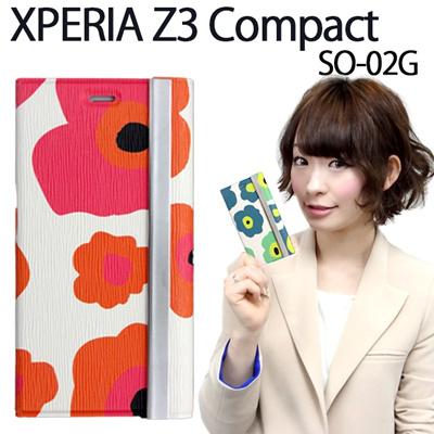 【期間限定セール】XPERIA Z3 Compact SO-02G 用 花柄 手帳型ケース【SO-02G SO-02Gケース SO-02Gカバー XPERIAZ3Compact SO02G エクスペリア エクスペリアz3 スマホケース スマホカバー docomo 手帳 ダイアリー】の画像