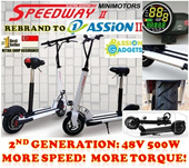★Passion2 SW3 SpeedwayII PASSION II 500W 48V ★ Speed way 2 More Speed Power! 10inch wheel Foldable Electric Scooter ShengTe goboard| Sheng Te Scooters | Mini Bike Bicycle | E-Scooter| Airwheel SW2