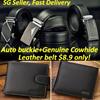 Mens Automatic Buckle Belt/Mens wallet/Genuine Cowhide Leather Belt/ Business Black Belts /wallet/SG