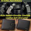 Mens Automatic Buckle Belt/Mens wallet/Genuine Cowhide Leather Belt/ Business Black Belts /wallet/Waist Strap/SG Seller Fast Delivery/Flat rate