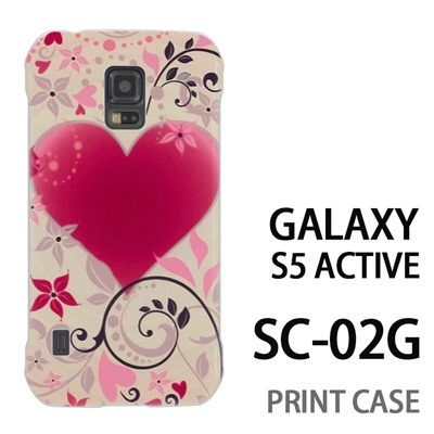 GALAXY S5 Active SC-02G 用『0114 花飾りのハート 黄』特殊印刷ケース【 galaxy s5 active SC-02G sc02g SC02G galaxys5 ギャラクシー ギャラクシーs5 アクティブ docomo ケース プリント カバー スマホケース スマホカバー】の画像