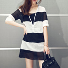 [Photos] 588 # summer new Korean version was thin loose V-neck striped cotton shirt dress send strap