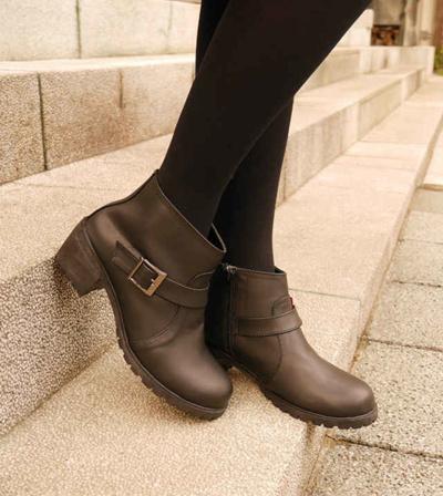 【Sale Boots新作】FM02ブラック☆ハンドメイド☆ショートブーツ/太めヒール/ローヒール/厚底/ファスナーあり/ローファー/5cmの画像