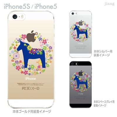 【iPhone5S】【iPhone5】【Vuodenaika】【iPhone5ケース】【カバー】【スマホケース】【クリアケース】【フラワー】【北欧】【ダーラナホース】 21-ip5s-ne0053の画像
