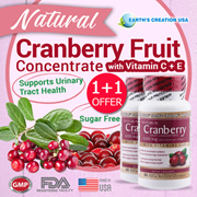 ★1+1★EARTH's CREATION® Natural Cranberry Fruit Concentrate ♡ 60's Softgels ♡ Helps Maintain A Healthy Urinary Tract ♡ With Vitamin Cs  E
