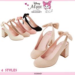♥New Arrival♥Gracegift-Disney Marie Bow Slingback Block Heels/Women Shoes