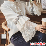 2017年春に新しい韓国のファッションカジュアルシャツの襟の気質のレースステッチレースのトランペット袖