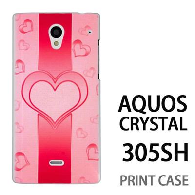 AQUOS CRYSTAL 305SH 用『No4 ハートライン ピンク』特殊印刷ケース【 aquos crystal 305sh アクオス クリスタル アクオスクリスタル softbank ケース プリント カバー スマホケース スマホカバー 】の画像