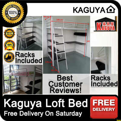 [KAGUYA] Loft Bed Metal Multi Function With Study Table Top And Shelves.  Warehouse Part 85
