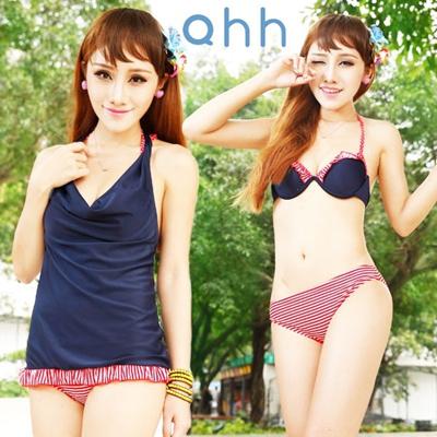 QHH0017水着 安い水着通販 レディース ワンピース タンキニ サロペット 体型カバー ビキニ 激安 水着タンキニ 水着サロペットの画像