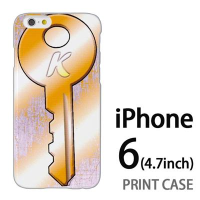iPhone6 (4.7インチ) 用『No1 K 黄色の鍵』特殊印刷ケース【 iphone6 iphone アイフォン アイフォン6 au docomo softbank Apple ケース プリント カバー スマホケース スマホカバー 】の画像