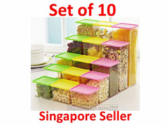 [SG50 SALE] Creative Stackable Korean Style Canister Storage Container Space-Saving Tight-Sealed well-Organize Pretty Singapore Seller