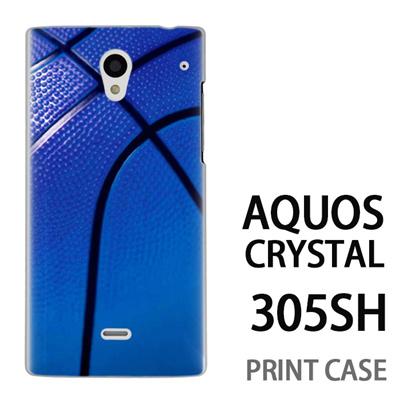 AQUOS CRYSTAL 305SH 用『No4 バスケットボール 青』特殊印刷ケース【 aquos crystal 305sh アクオス クリスタル アクオスクリスタル softbank ケース プリント カバー スマホケース スマホカバー 】の画像