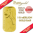 1g Singapore Merlion RED DOT Gold Bar / 999.9 Pure Gold / Singapore Made Gold Bar / Premium Gifts / Collections / Souvenirs