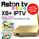 Aston X8+ TV box IPTV Enjoy EPL/BPLTV 1/2/3/9All Astro ChannelsHBO and many more 1000+ Channels at the price of one!