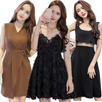 【23/4 new】Black Dresses/Korean style Slim dress/Sexy/Strapless/Halter/Little black dress/Harness dre