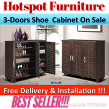 SALES !! The Cheapest 3 Louvre Doors Shoe Cabinet in Qoo !! FREE Delivery N Installation !!! LIMITED