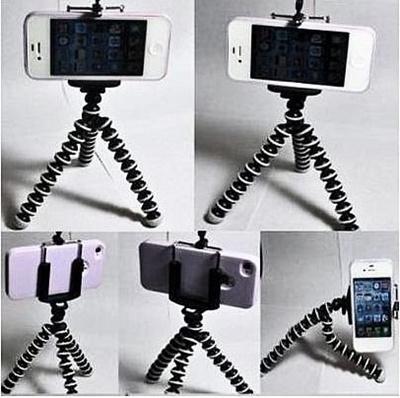 【国内発送】iphone用三脚ホルダー デジカメスタンド スマホ対応 モバイル iphone5 クネクネ三脚&自撮り一脚&Bluetoothカメラリモコンの画像