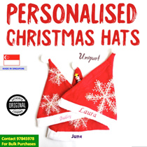 🎅Christmas Party Hats! LOCAL MADE Personalised Embroidery Kids/Adult Size Christmas Hats Santa Gift