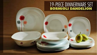 Qoo10 19 piece dinnerware set bormioli dandelion for Qoo10 kitchen set