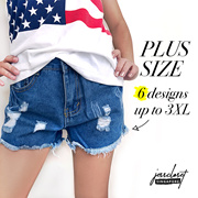 JESSCLOSET - Denim Shorts Comes In Plus Size Up To 3XL 6 designs! - New Arrival